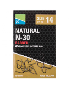 Preston Natural N-30 Barbed Hooks nº 12